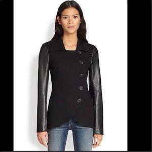 Baily 44 jacket coat faux leather sleeves sz XS